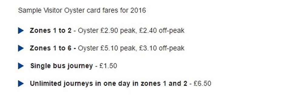 Tariffe Oyster Card